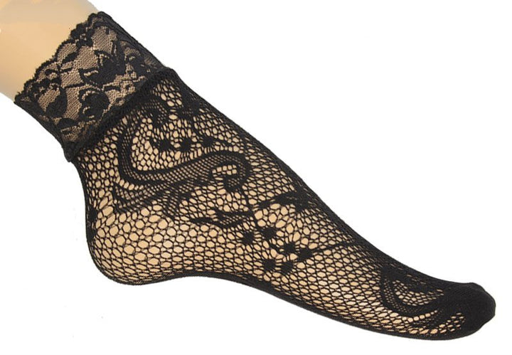 Women's Transparent Mesh Short Socks With Lace