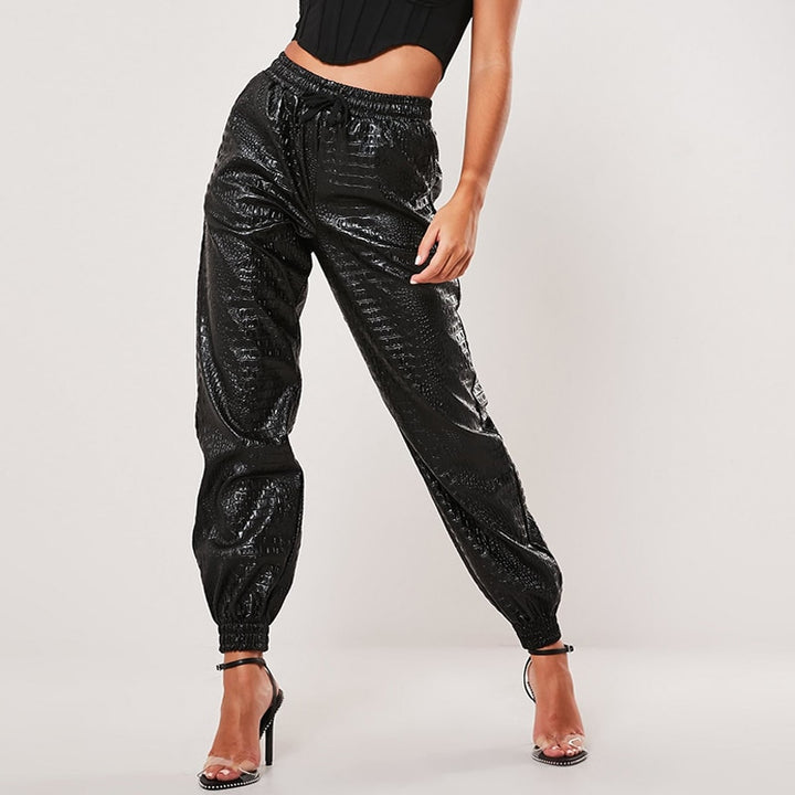 Women's Casual High Waist PU Leather Elastic Solid Pants
