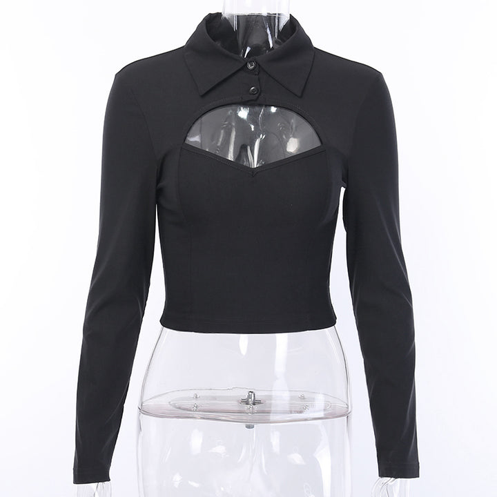 Women's Autumn Solid Elastic Turn-Down Collar Cropped Shirt