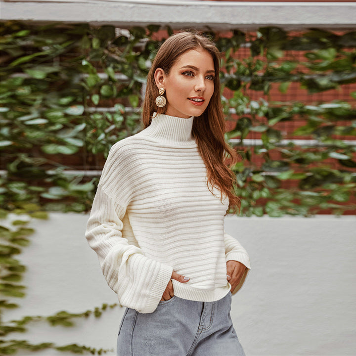 Women's Autumn Casual Knitted Long-Sleeved High-Neck Sweater