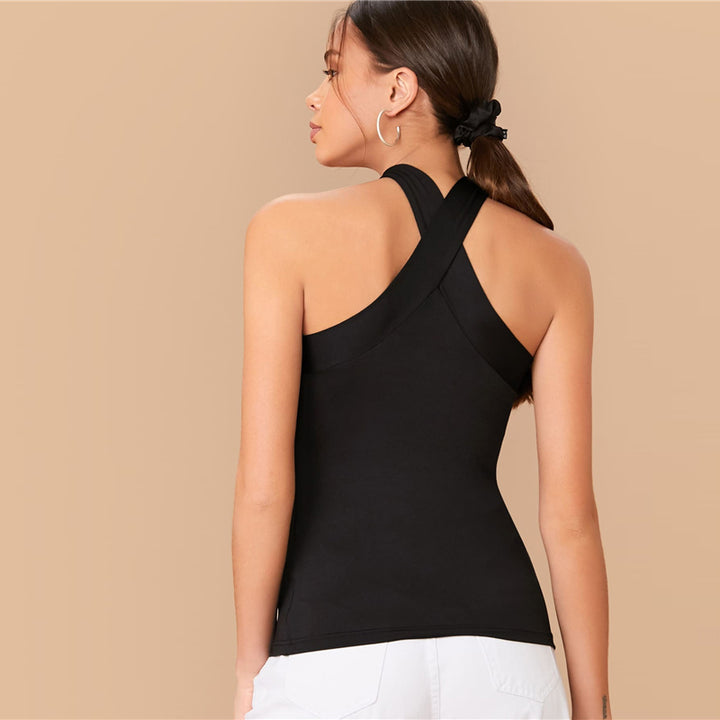 Women's Summer Spandex Slim Top With Criss-Cross Back