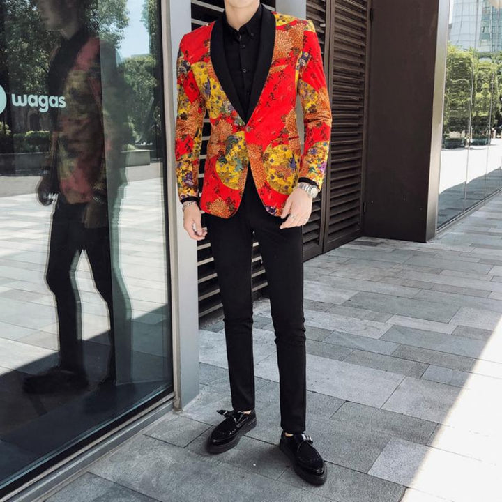 Men's Single Breasted Velvet Blazer With Print