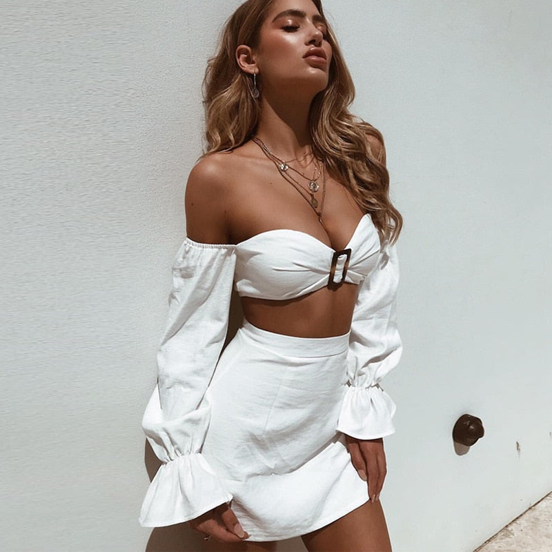 Women's Off Shoulder Long Sleeve Solid Skinny Two-Piece Dress