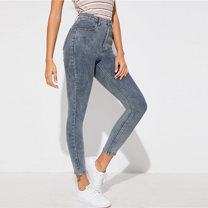 Women's Casual Mid-Waist Skinny Buttoned Jeans