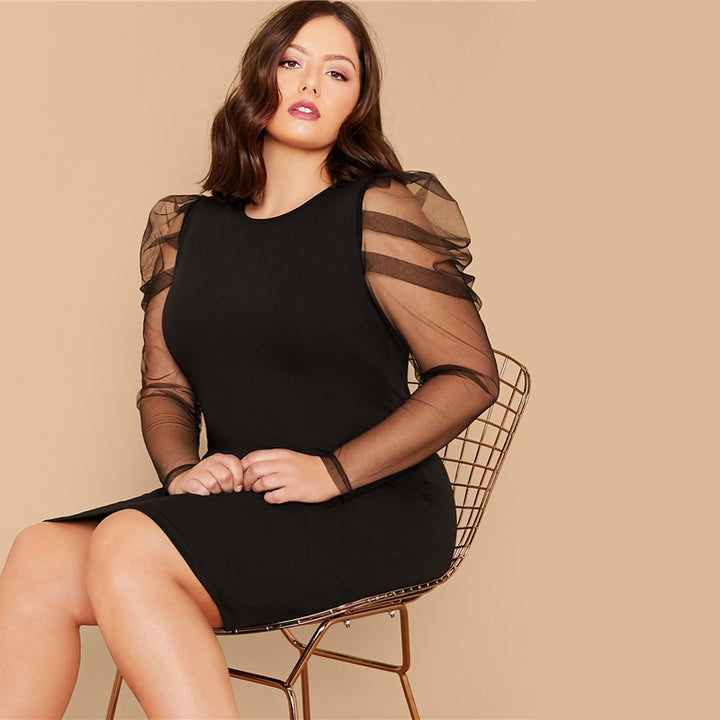 Women's Spring/Summer Sheath Long-Sleeved Dress | Plus Size