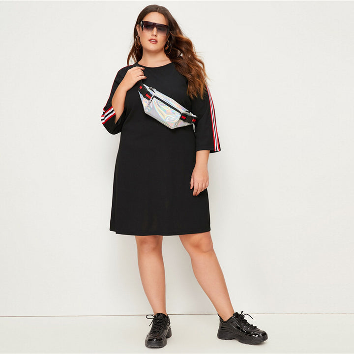 Women's Spring Striped Loose Dress | Plus Size