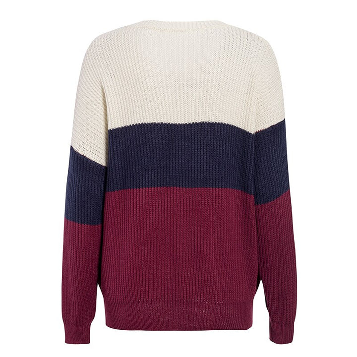 Women's Autumn/Winter Casual Patchwork O-Neck Knitted Sweater