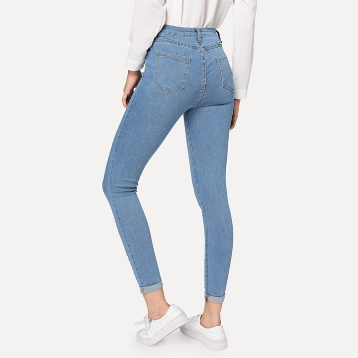 Women's Spring Casual High Waist Skinny Stretchy Jeans