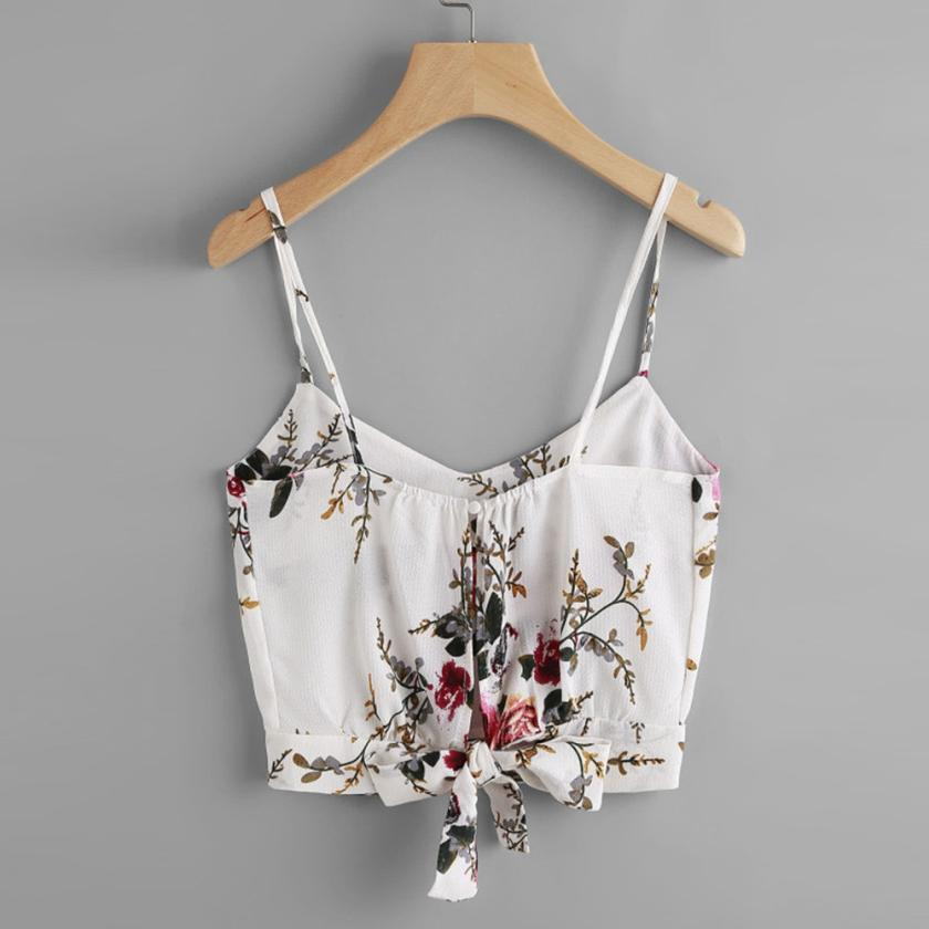 Women's Summer Casual V-Neck Floral Crop Top