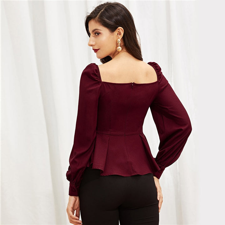 Women's Peplum Buttoned Square Neck Blouse