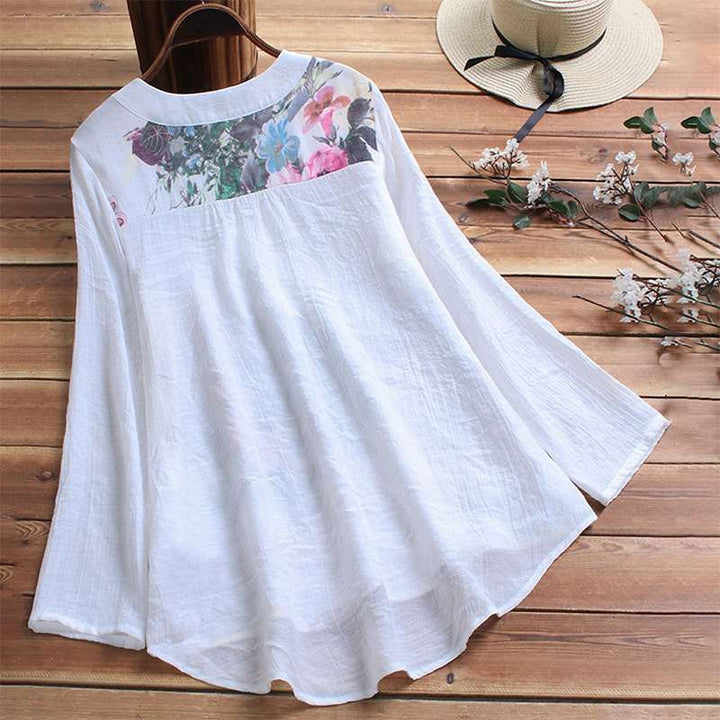 Women's Summer Casual Cotton Floral Loose Blouse With Lace