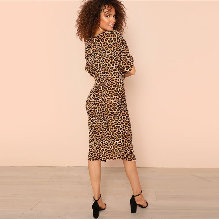Women's Summer V-Neck Stretchy Leopard Dress