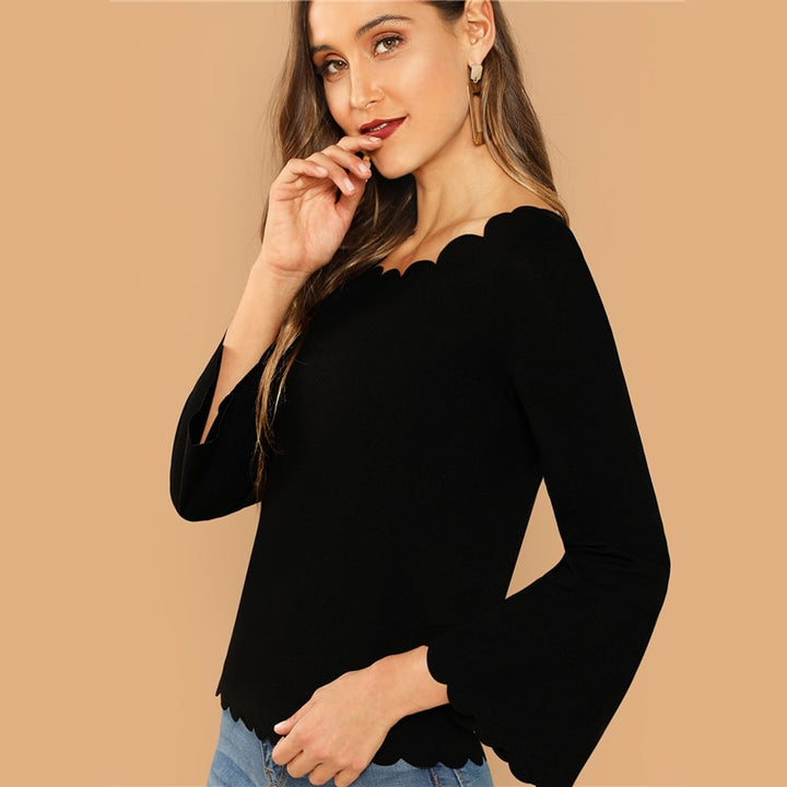Women's Casual Long Sleeve Blouse With Scallop Trim