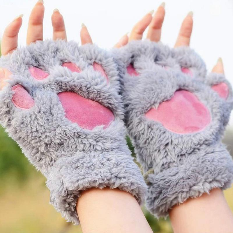 Women's Winter Fingerless Plush Gloves