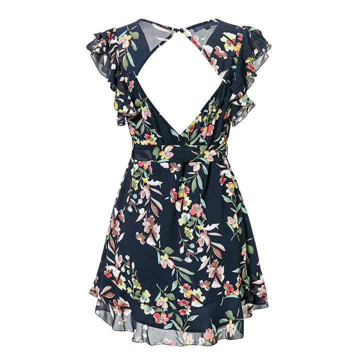 Women's Summer Chiffon Backless Short V-Neck Dress