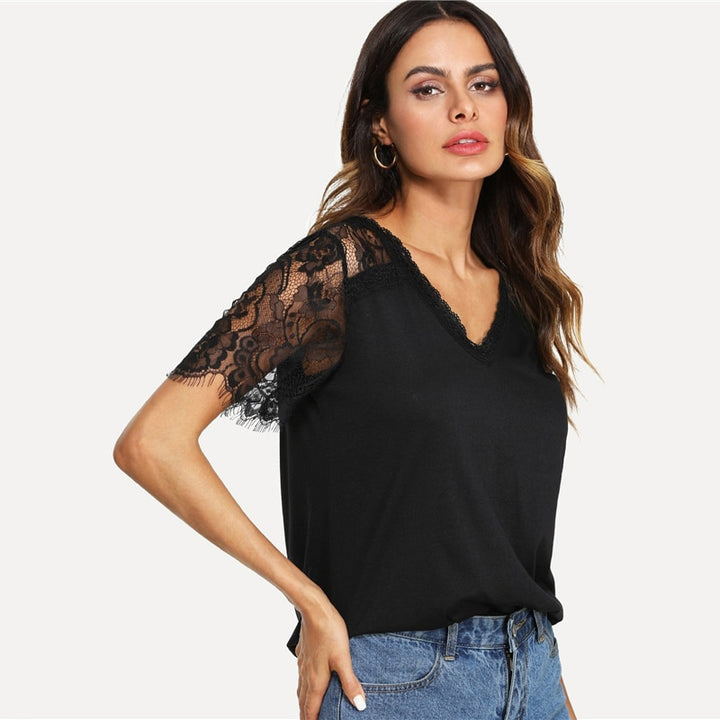Women's Summer Casual Lace Sleeve T-Shirt