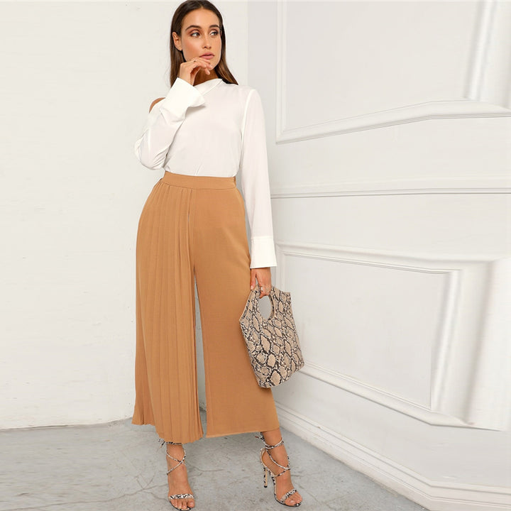 Women's Polyester Mid-Waist Loose Pants