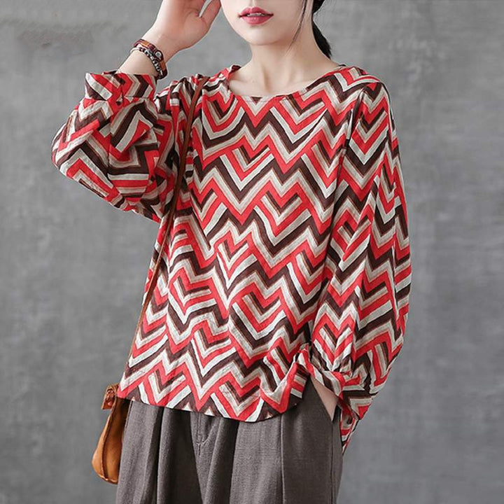 Women's Summer Casual Cotton O-Neck Blouse With Print