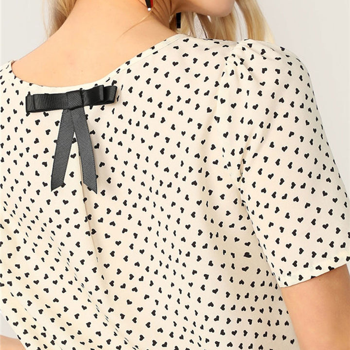Women's Summer Casual O-Neck Blouse With Heart Print