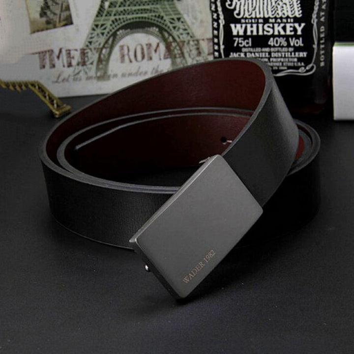 Men's Genuine Leather Belt With Smooth Buckle