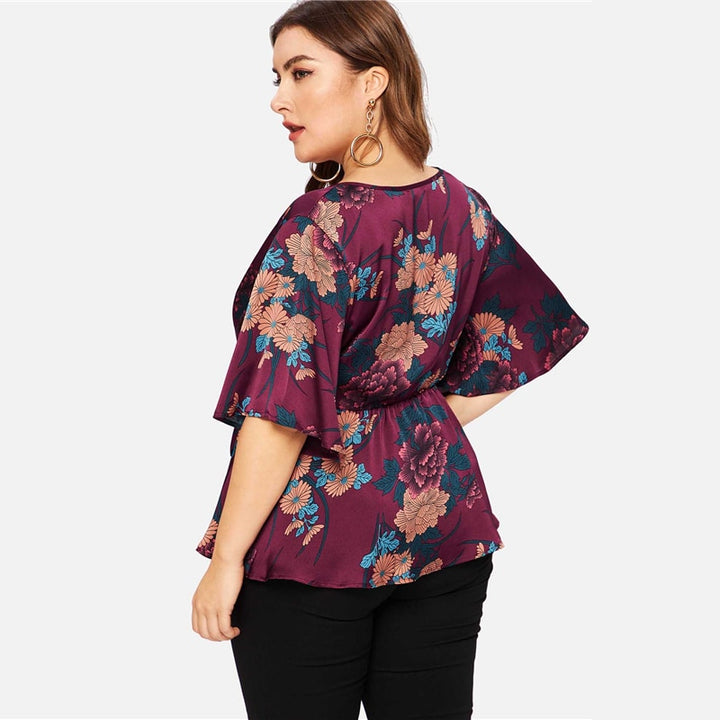 Women's V-Neck Belted Blouse With Floral Print | Plus Size