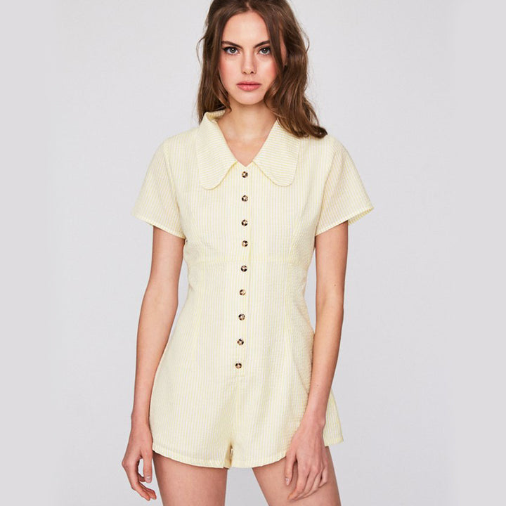 Women's Summer Casual Buttoned Turn-Down Collar Romper