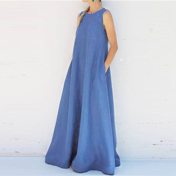 Women's Summer Casual Polyester Loose Long Dress With Pockets