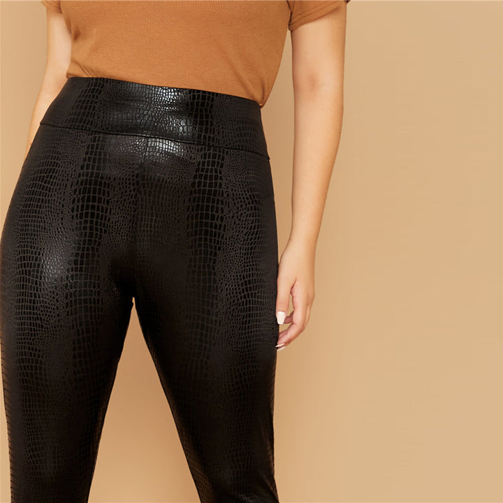 Women's Autumn Casual Snakeskin Leggings | Plus Size