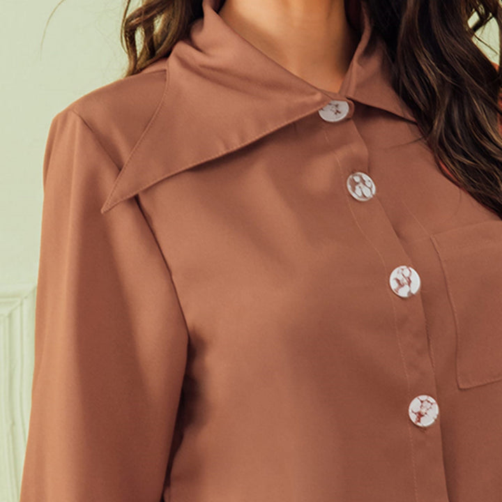 Women's Casual Polyester Long-Sleeved Shirt With Buttons