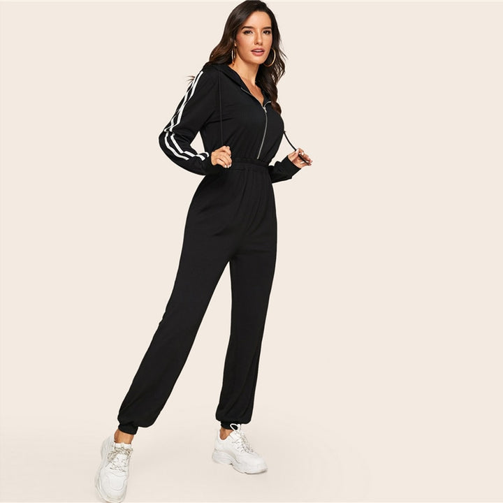 Women's Casual Hooded Striped High-Waist Fitness Bodysuit