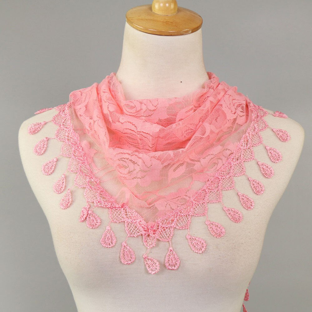 Women's Lace Floral Scarf With Tassels