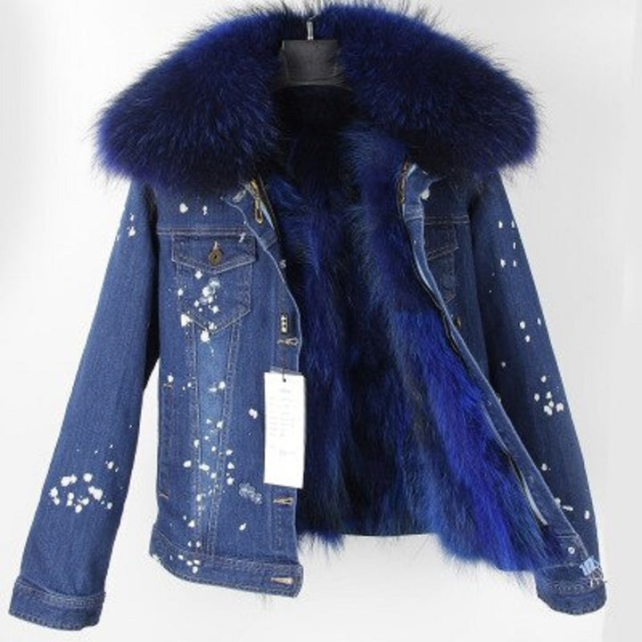 Women's Winter Casual Denim Slim Parka With Raccoon Fur