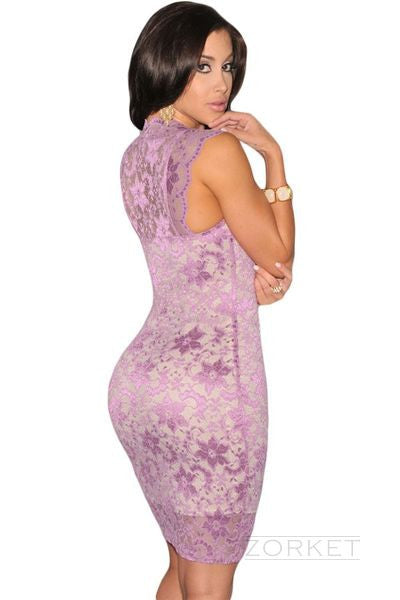 Sheath Mini Dress With Lace - Zorket