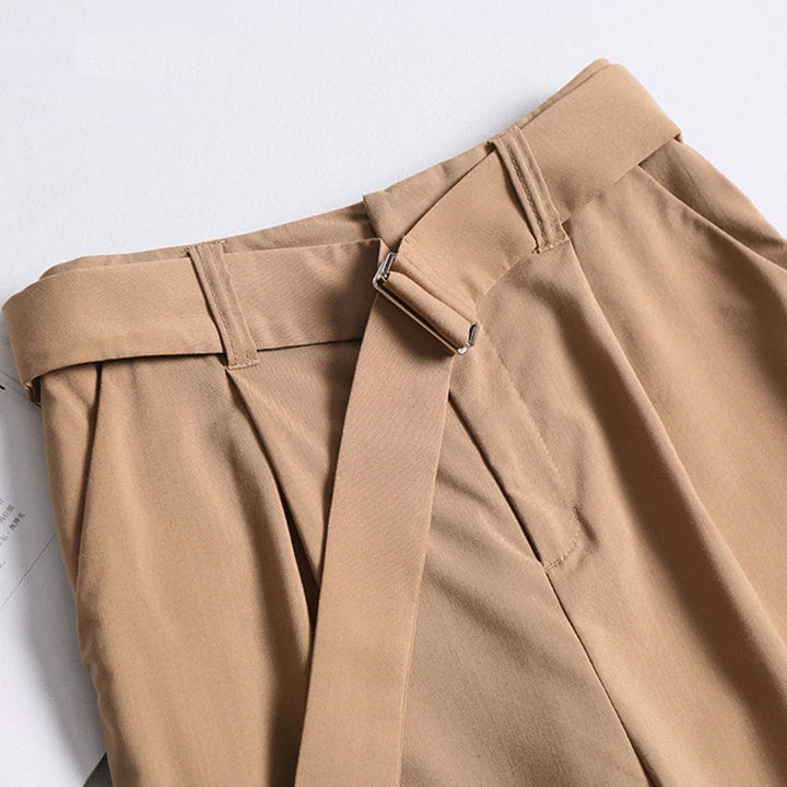 Women's Casual Polyester High-Waist Pants With Belt