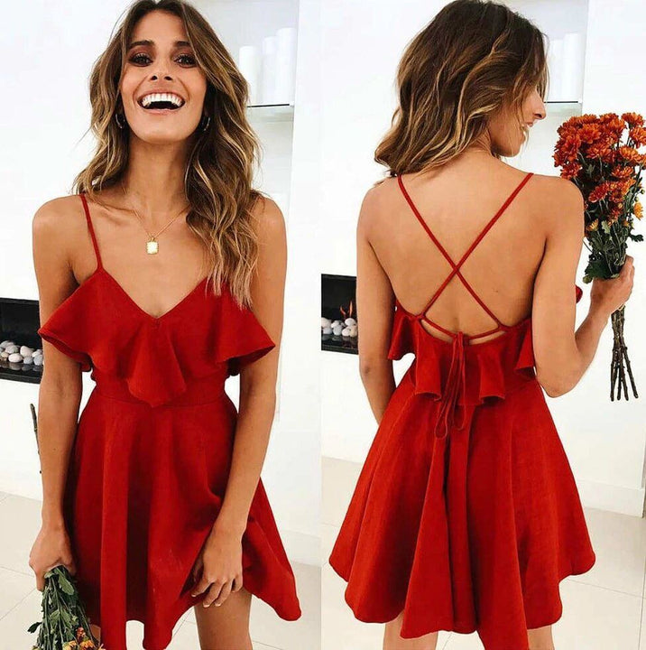 Women's Summer Backless Cross Drawstring Ruffles V-neck Strap Dress