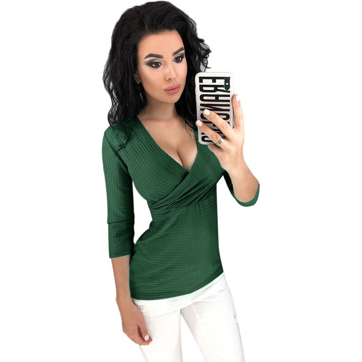Women's Autumn V-Neck Ribbed Cotton Stretchy T-Shirt