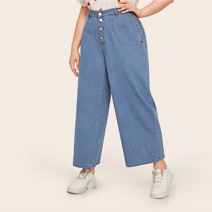 Women's Casual Loose Mid-Waist Jeans With Buttons | Plus Size
