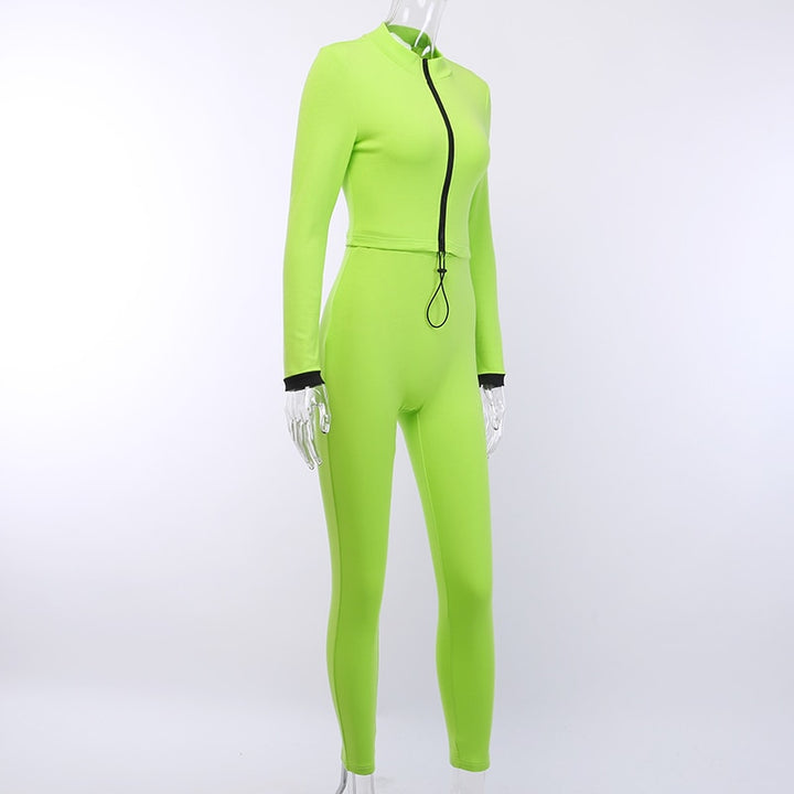 Women's Autumn Casual Zipper Elastic Two-Piece Suit
