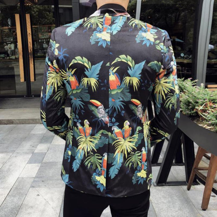 Men's Spring Single Breasted Blazer With Floral Print