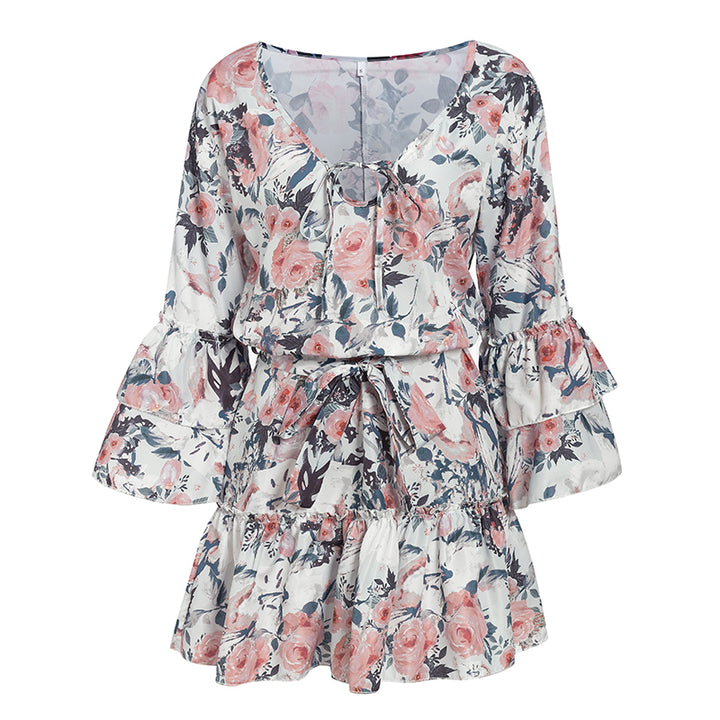 Women's Summer Casual Long-Sleeved Ruffled V-Neck Mini Dress