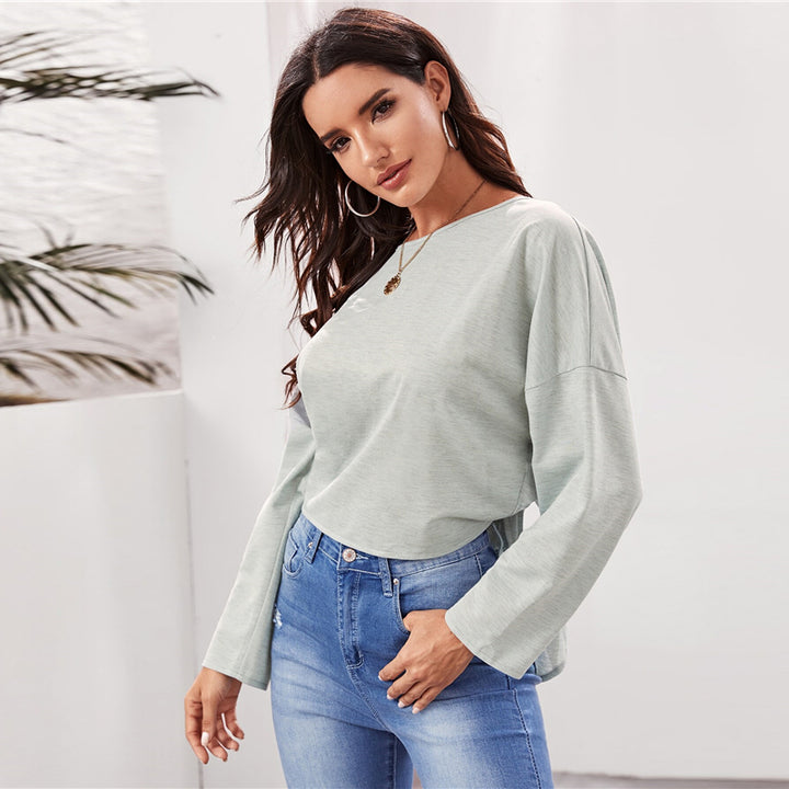 Women's Spring Backless O-Neck Long-Sleeved Sweatshirt