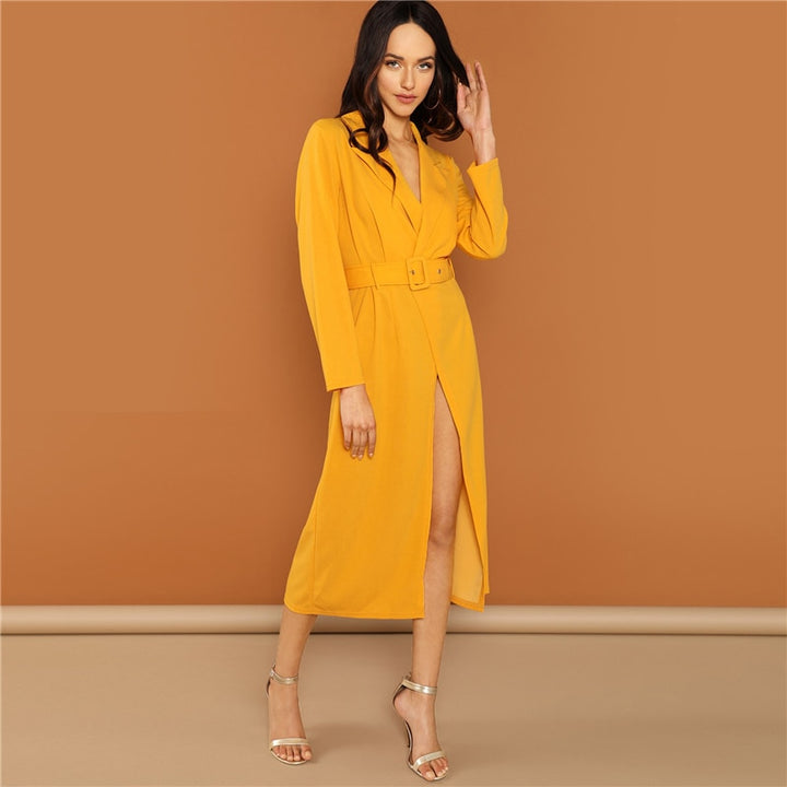 Women's Spring Belted V-Neck Long Dress