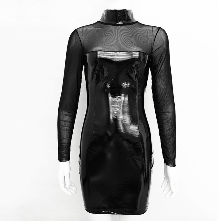 Women's Spring/Summer PU Leather Mesh Long Sleeve Bodycon Dress