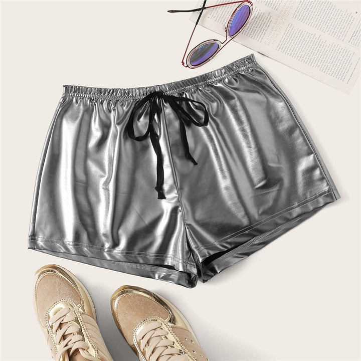 Women's Summer PU Mid-Waist Elastic Shorts With Sashes
