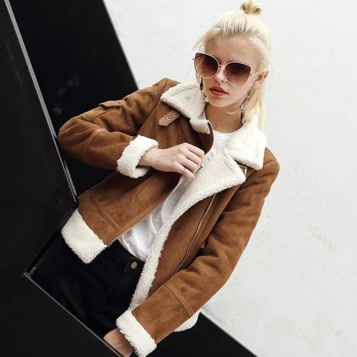 Women's Winter Thick Sheepskin Coat With Faux Fur
