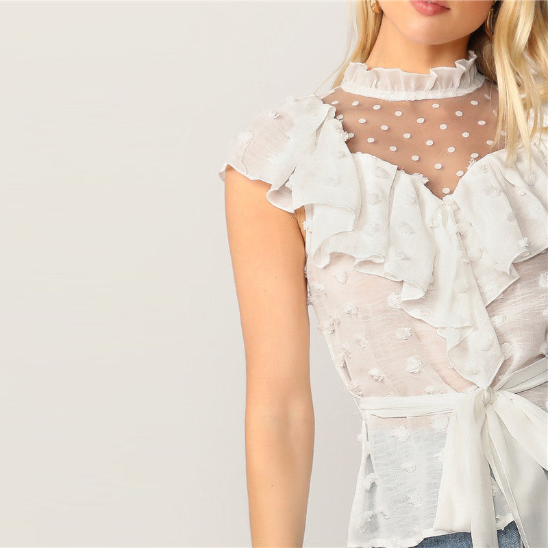 Women's Summer Mesh Cap-Sleeved Top With Ruffles