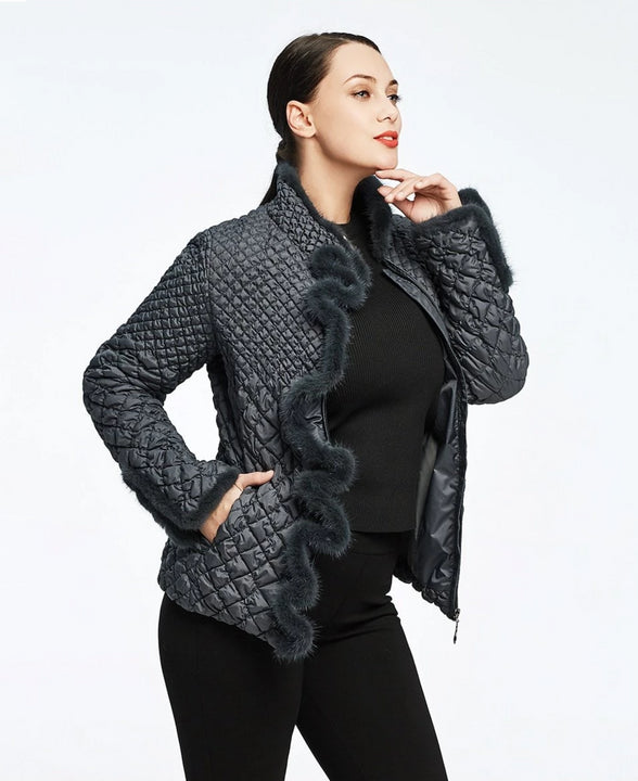 Women's Winter Solid Slim Coat | Plus Size