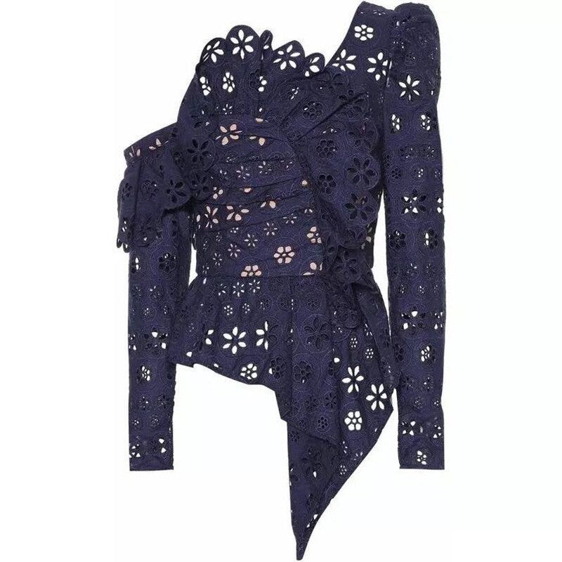 Women's Spring Lace Asymmetrical Long-Sleeved Blouse