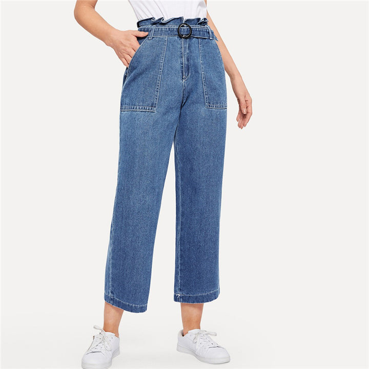 Women's Casual Loose Crop Jeans With Belt