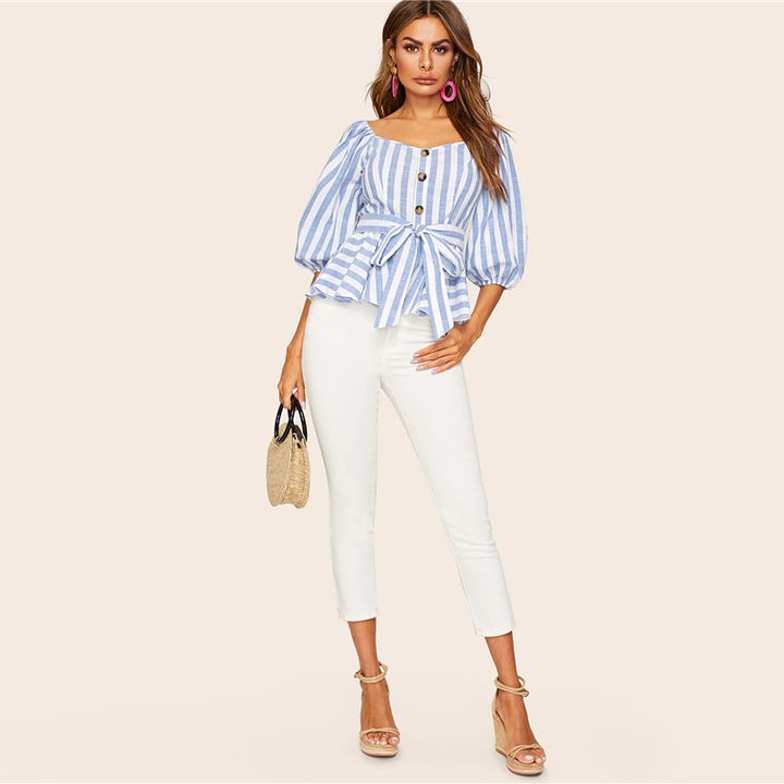 Women's Summer Belted Striped Blouse